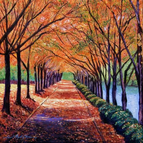 DiaNoche Designs Artist Autumn Tree Lane - David Lloyd Glover