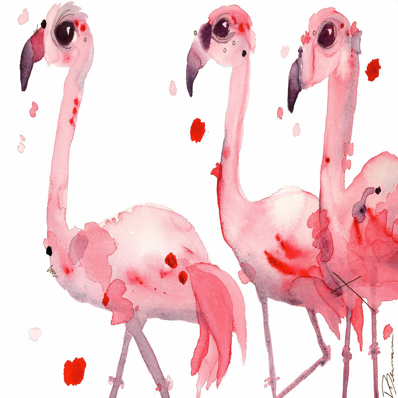 DiaNoche Designs Artist | Dawn Derman - Three Flamingos
