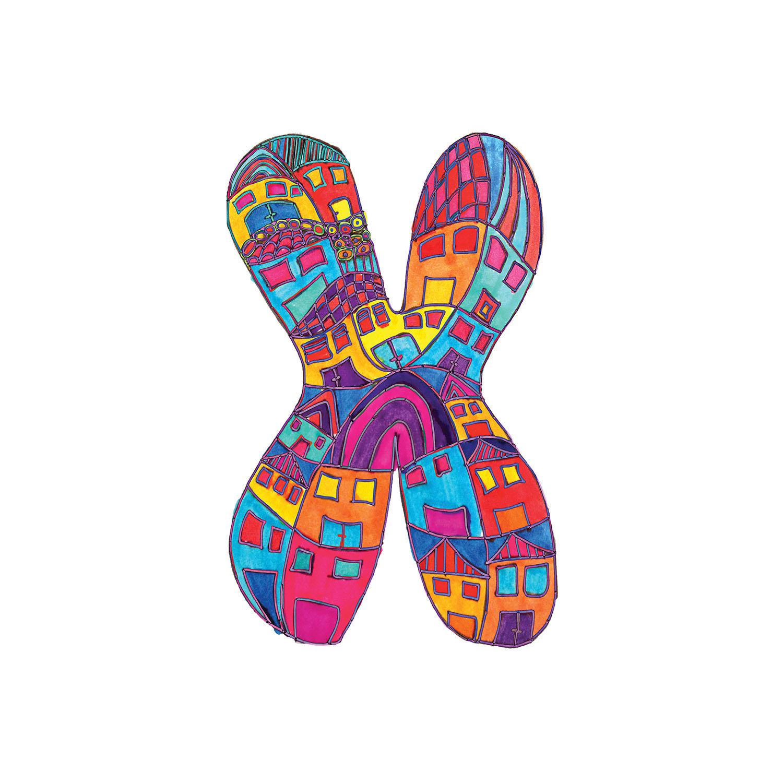 DiaNoche Designs Artist | Dora Ficher - Alphabet Letter X
