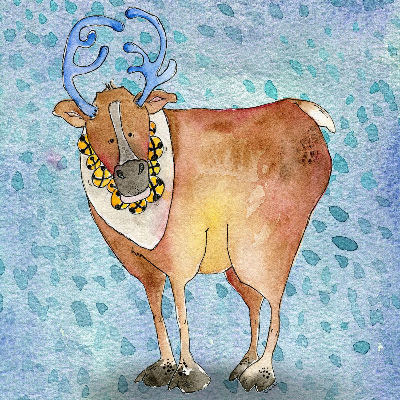 DiaNoche Designs Artist   Marley Ungaro - Reindeer Blue