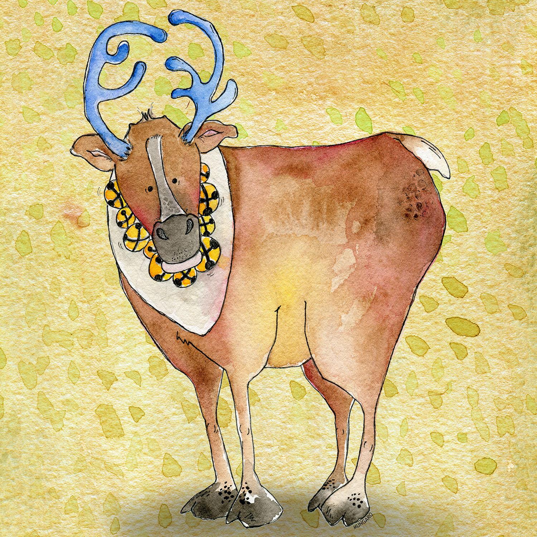 DiaNoche Designs Artist   Marley Ungaro - Reindeer Chartreuse