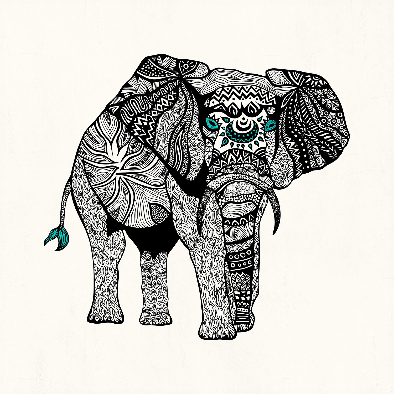 DiaNoche Designs Artist | Pom Graphic Design - One Tribal Elephant