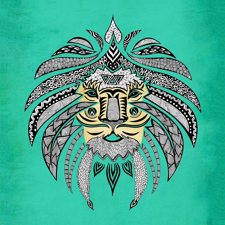DiaNoche Designs Artist | Pom Graphic Design - Emperor Tribal Lion Turquesa