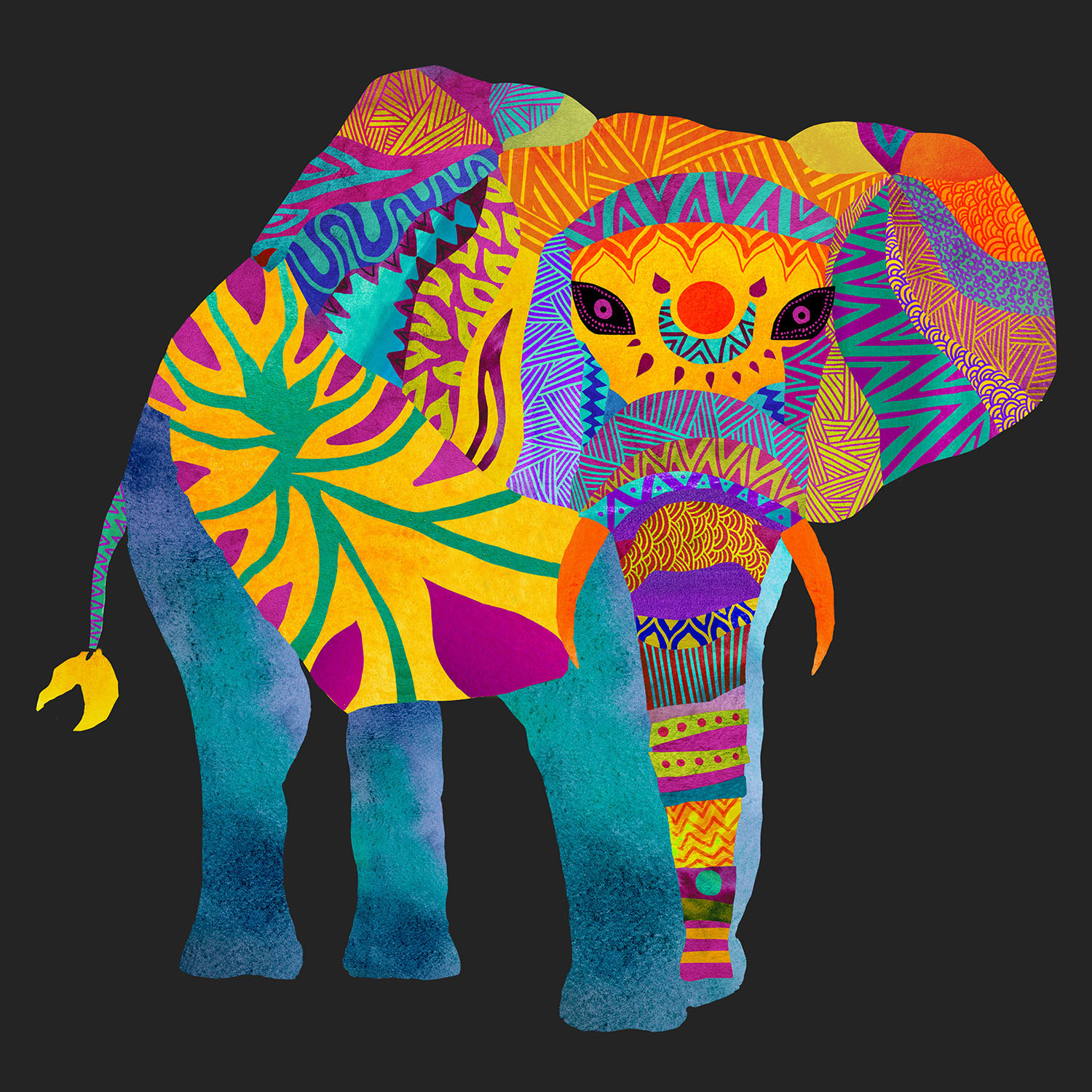 DiaNoche Designs Artist | Pom Graphic Design - Whimsical Elephant II