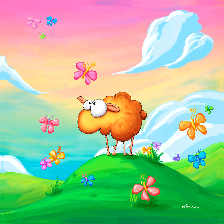 DiaNoche Designs Artist | Tooshtoosh - Wallo the Sheep Pink