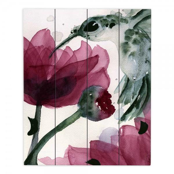 Wood Plank Wall Art Artist: Dawn Derman, Colorado Image: Peonies and Hummingbirds