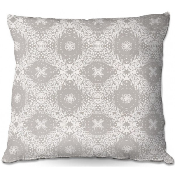Lace Beige White Throw Pillows by Julie Ansbro
