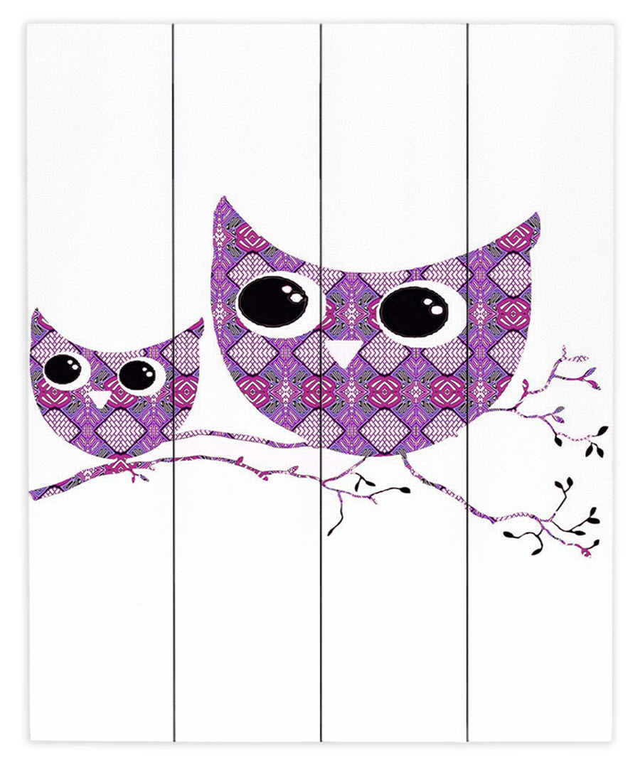 Owl Argyle Rose Wood Plank Wall Art by Susie Kunzelman