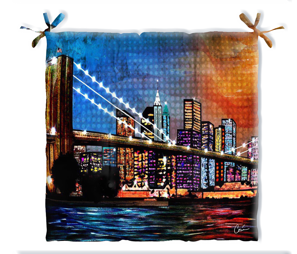 Fathers Day Brooklyn Bridge New York Outdoor Patio Cushion