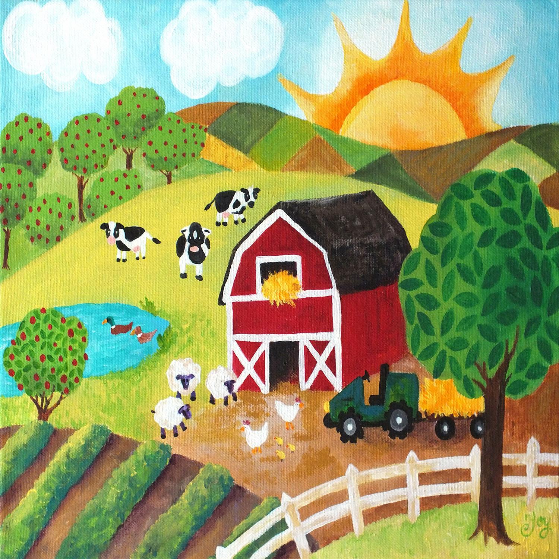 DiaNoche Designs Artist   nJoy Art - Daybreak on the Farm