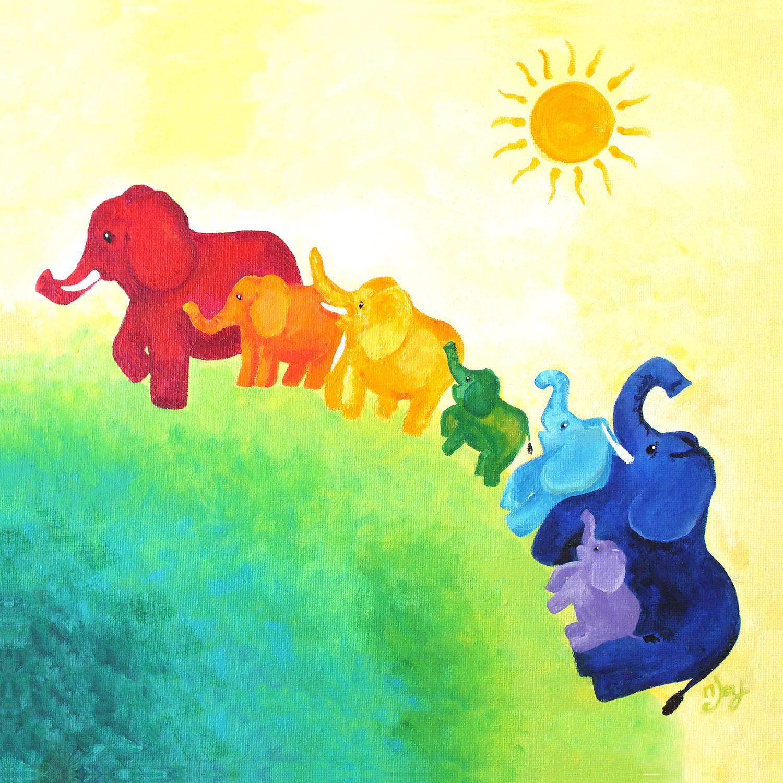 DiaNoche Designs Artist   nJoy Art - Elephant Rainbow