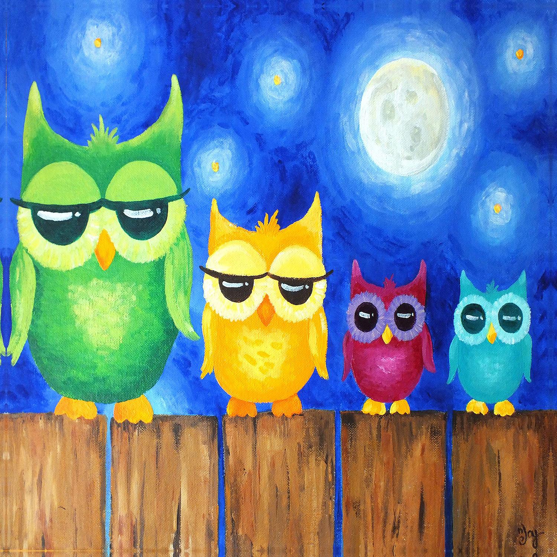 DiaNoche Designs Artist   nJoy Art - Owls on a Fence BLUE