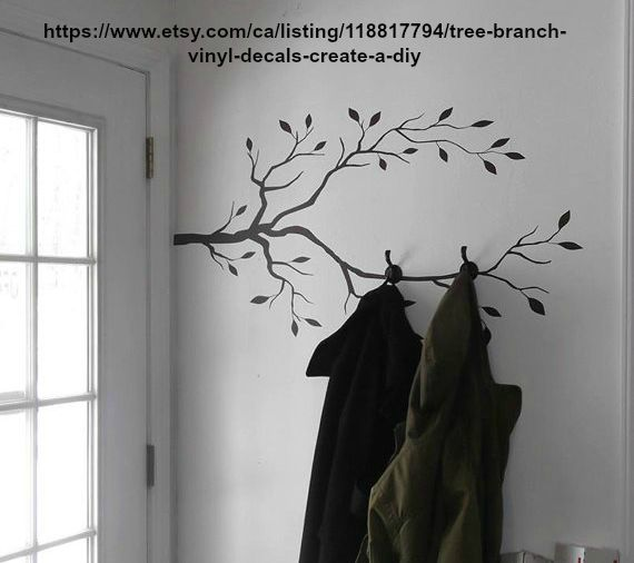 Wall Decals These easy to apply decals can really add some personality to a plain old wall.  This smarty pants on Etsy created this cool little functional corner combining a decals with hooks for a nifty place to hang your coats.