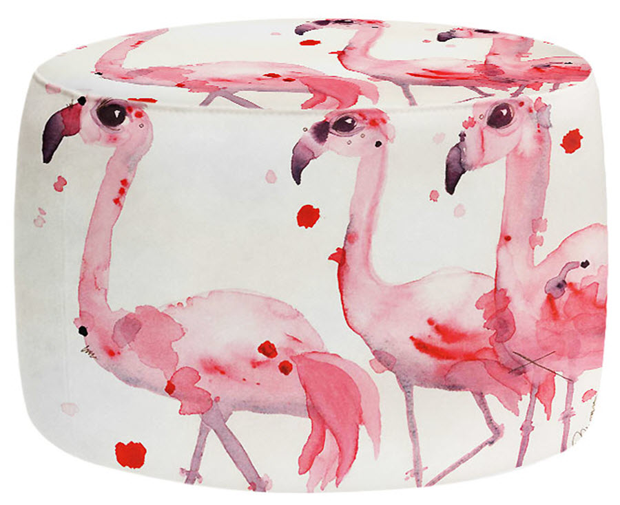 Three Flamingos Round Ottoman