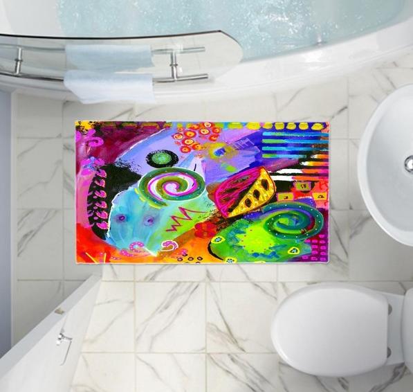 Designer bath mats