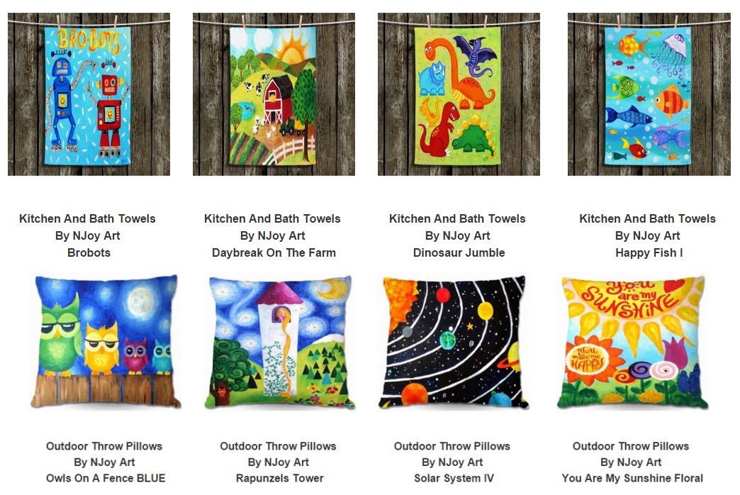 nJoyArt-home-decor-pillows-towels