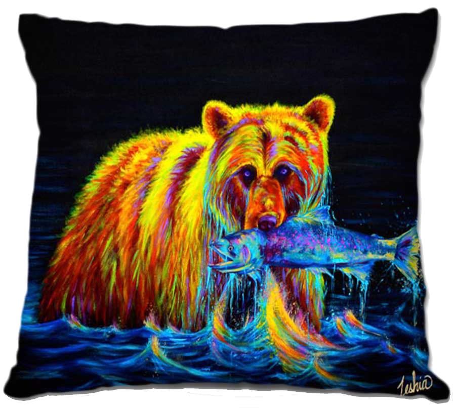 Grizzley Bear Throw Pillow Fathers Day